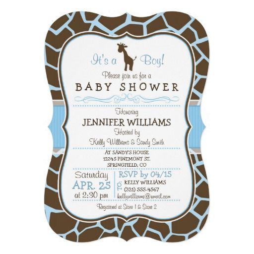 Elegant Safari Baby Shower: It's A Boy! Cute, Elegant Blue And Brown Giraffe Baby