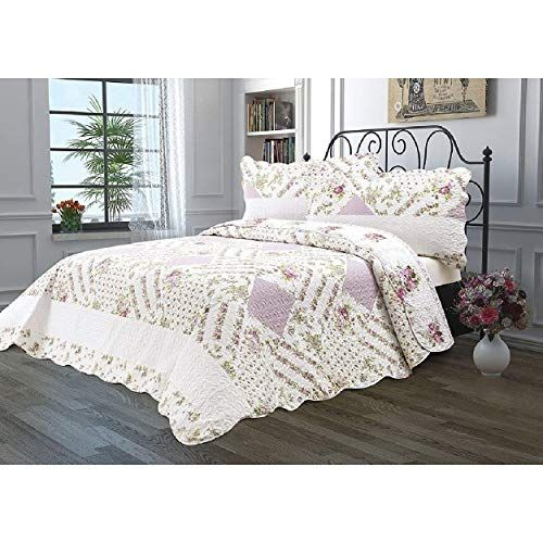 Floral Patchwork Quilt Set King Size Pink White Blooming