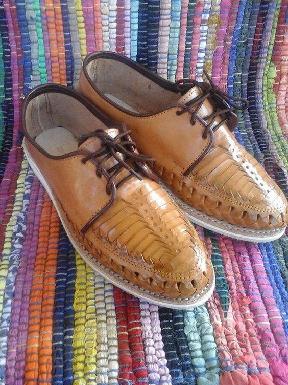 Hombres zapatos Huaraches artesanales cuero por artesanoslaraza