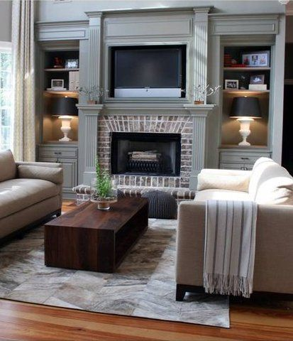 20 mantel and bookshelf decorating tips fireplaces brick fireplaces and large screen televisions. Black Bedroom Furniture Sets. Home Design Ideas