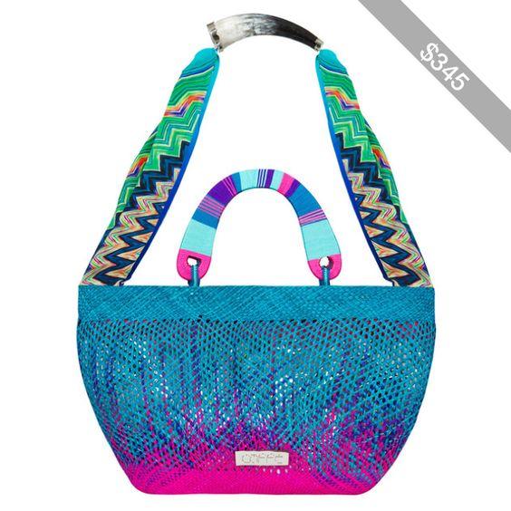 Caffe Pink And Blue Shopping Bag With Silk Shoulder Strap - Bora Bora