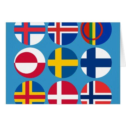 All Scandinavian Flags Card Scandinavian Cards Iceland Flag