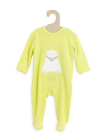 Pijama de terciopelo con bordado                                                                                                                                                                                                                                                                                                         azul claro Bebé niño