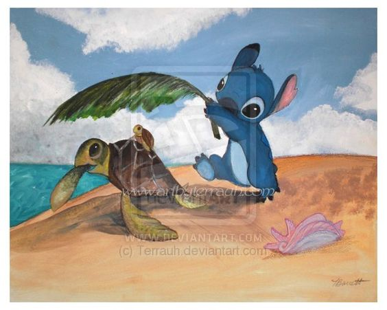 Stitch and Turtle by *Terrauh