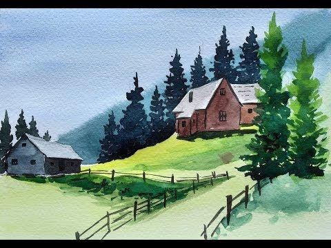 Beautiful Mountain Village Scenery Painting Watercolor Nature Painting Youtube In 2020 Watercolor Scenery Nature Paintings Scenery Paintings