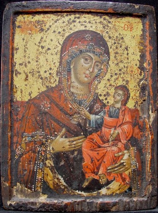 Greek icon of the Mother of God Hodegetria (c. 1700)