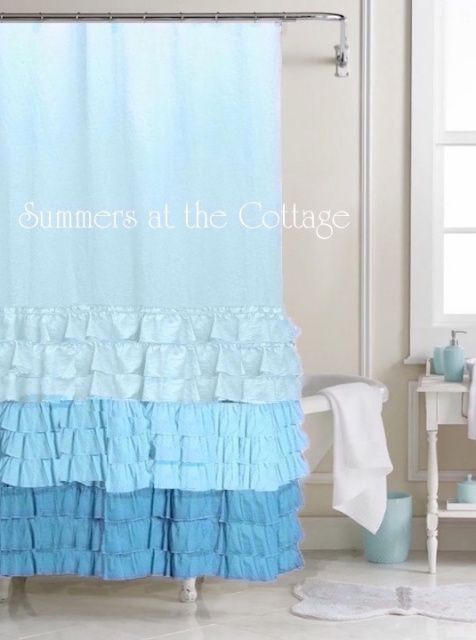 Shades Of Aqua Blue Turquoise Teal Ruffles Shower Curtain Ruffle Shower Curtains Beach House Shower Curtain Cottage Showers
