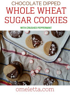 Chocolate Dipped Whole Wheat Sugar Cookies with Crushed Peppermint | omeletta.com