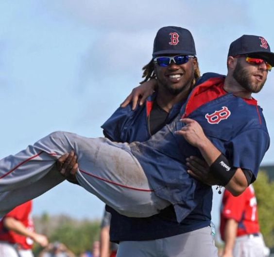 Hanley Ramirez and Dustin Pedroia of The Boston Red Sox