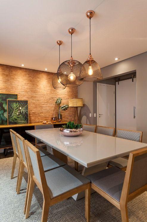 Decoração Sala de Jantar Pendentes metálicos e mesa de vidro cinza claro zuleicatartaro 212055