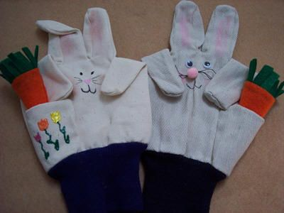easter bunny puppet out of a garden glove