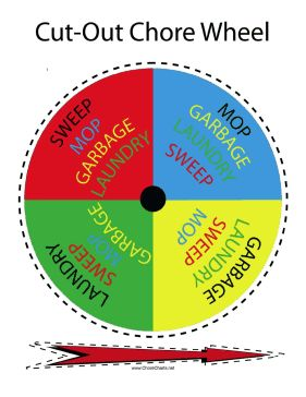 This printable chore wheel divides chores such as mopping, garbage, sweeping and laundry between four people. Free to download and print