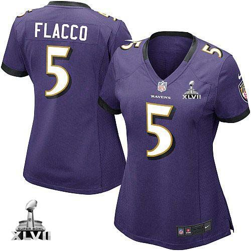 f73078688 ... NFL NIKE Baltimore Ravens 5 Joe Flacco Purple With Super Bowl Patch  Womens Game Jersey ...