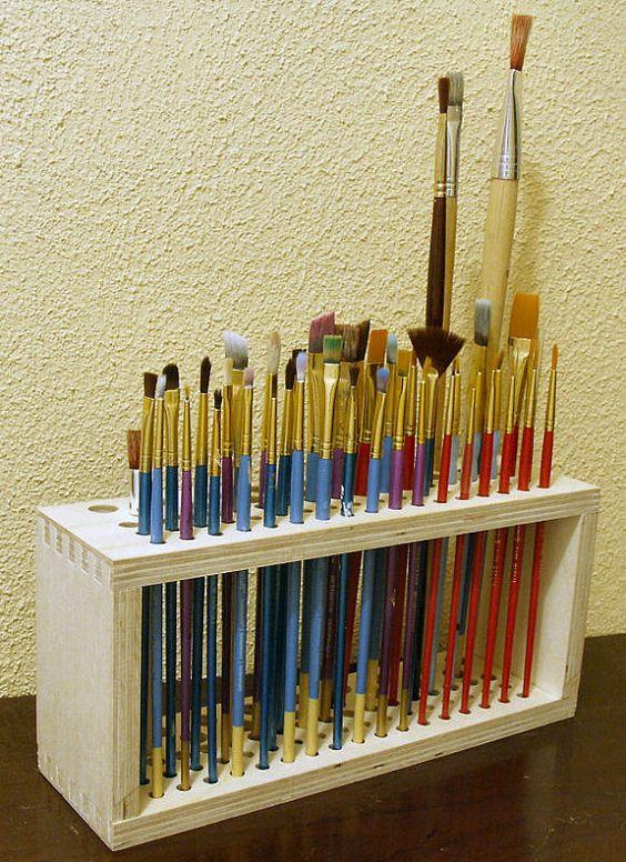 Paintbrush holder. https://www.etsy.com/listing/178205269/wooden-paintbrush-holder-for-craft