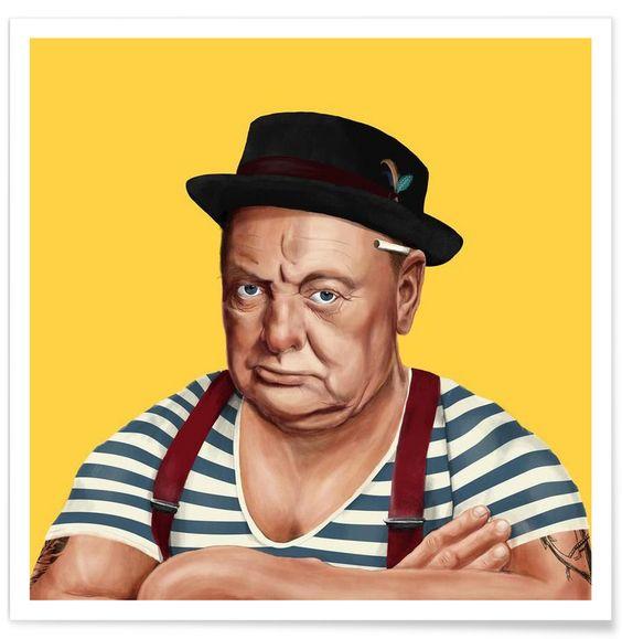 Churchill en Affiche premium par Amit Shimoni Illustration | JUNIQE
