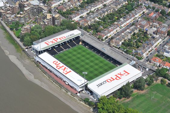 An aerial photograph of Fulham Football Club�s Craven Cottage Stadium, London