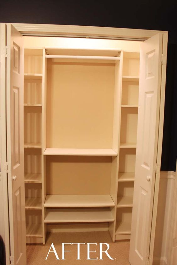 Our under 100 closet system ikea hack two billy for Bookcase closet