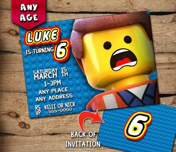 Lego Movie Custom Printable Birthday Invitation