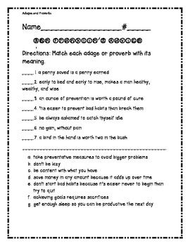Adages and Proverbs- Benjamin Franklin | Worksheets and Student