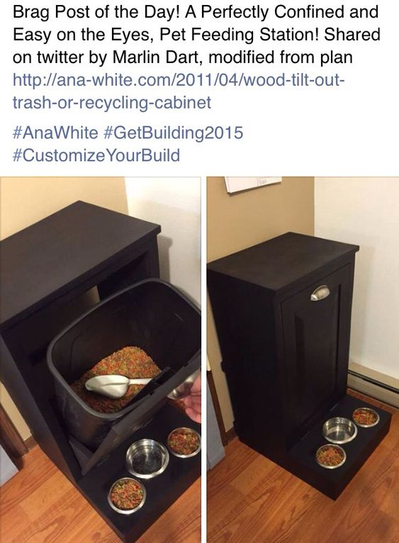Dog feeding station -- needs a sealed bin to keep the food from getting stale or attracting ants. Cute idea though. ~Cara