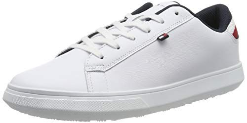 Tommy Hilfiger Herren Essential Leather Detail Cupsole Sneaker Weiss White 100 43 Eu Sneakers Schuhe Leder Sneaker