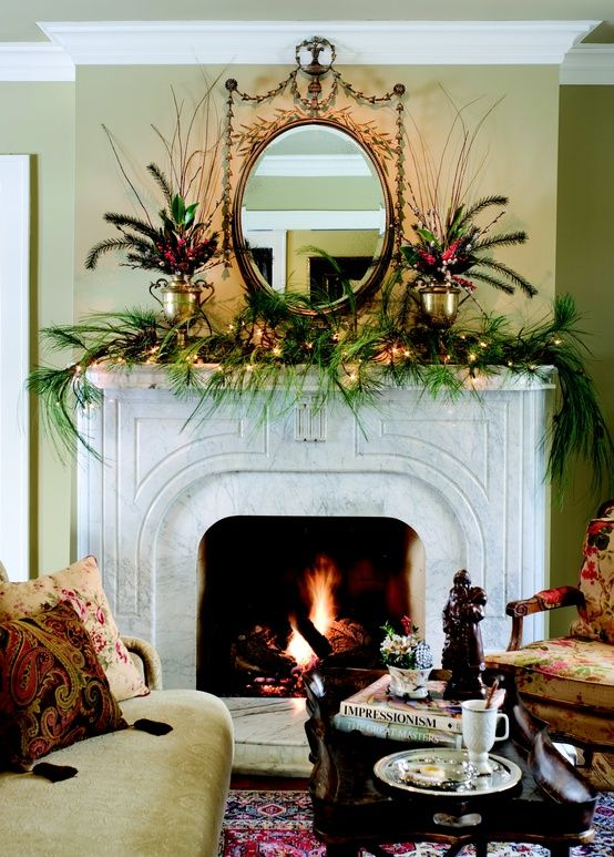 35 beautiful christmas mantels christmas mantels for Images of fireplace mantels decorated for christmas