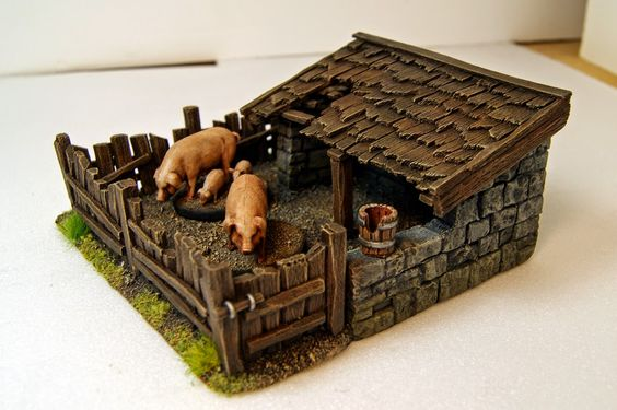 tejas muy chulas en madera    Miniature Warfare: Pigsty... A great place to stay