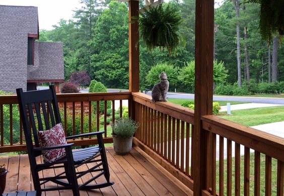 Front porch of a beautiful 4BR lake home for sale on Lake James  http://1503brentwoodpl.blogspot.com