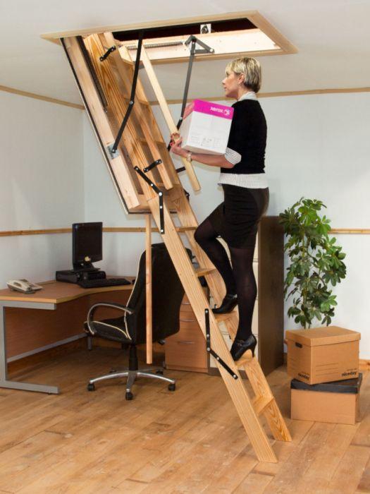 Stira Heavy Duty Timber Folding Loft Ladder Loft Ladder Timber   Folding Loft Stairs With Handrail   Circle Stair   Design   Limited Space   Stairway Osha   Semi Automatic