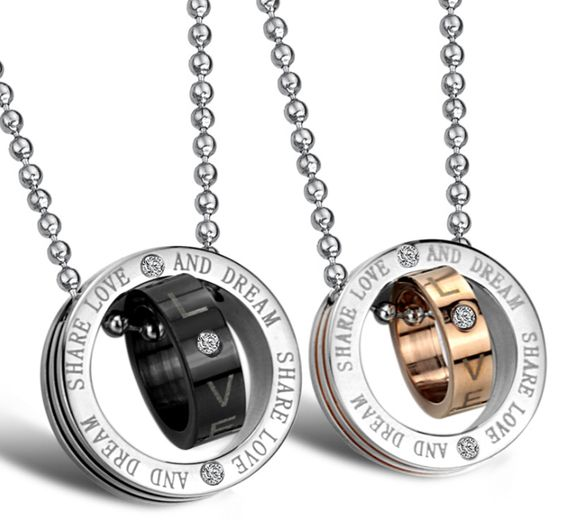 Circle stainless steel necklace in pair