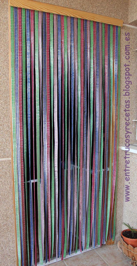 Entre trucos y recetas diy cortina con anillas de latas for Anillas de cortinas