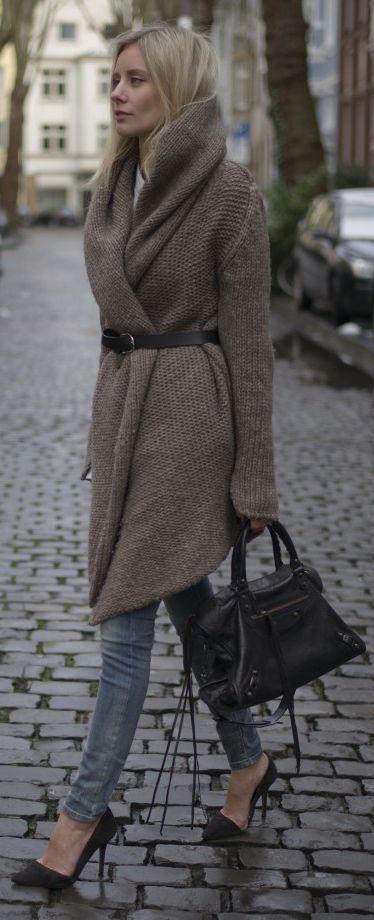 Chunky Knit Long Cardigan