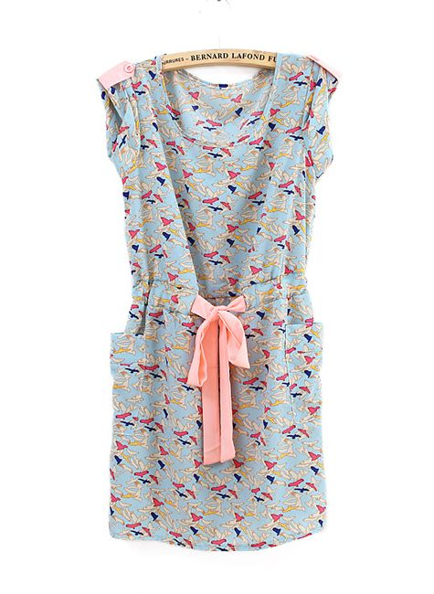 Vintage Birds Printed Pockets Sashes Dress Blue >> This looks like a dress I would wear every day! Love it! $29