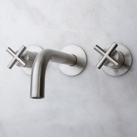 Exira Wall Mount Bathroom Faucet with Cross Handles   Brushed Nickel signature hardware  190. Exira Wall Mount Bathroom Faucet   Cross Handles   Pinterest