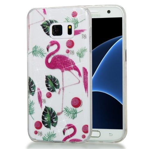 Coque paillettes Samsung Galaxy S7 - Flamant rose tropical ...