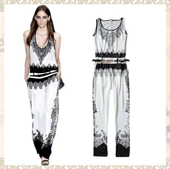2013 European Style Fashion High Quality Jumpsuit Women's Vintage ...