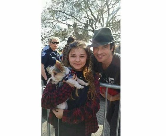 Ian Somerhalder with fans at MardiPaws Parade in NOLA serving as MardiPaws Gran Monarch ~ Sunday,  February 14, 2016