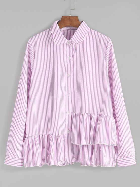 Camisa a rayas verticales con volantes - rosa -Spanish SheIn(Sheinside)