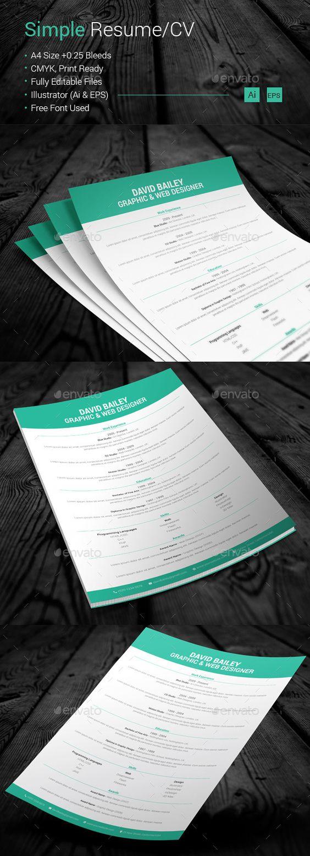 simple resume cv simple resume resume and stationery simple resume cv resumes stationery here graphicriver net item simple resumecv 10689386 ref artgallery8