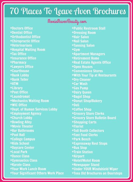 Moxie Maven Beauty: 70 Places To Leave Avon Brochures - Where To ...