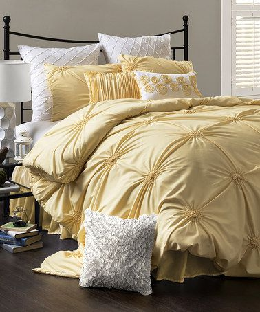 This Yellow Bianca Comforter Set is perfect! #zulilyfinds  I want this in purple