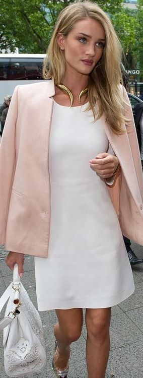 Rosie Huntington-Whiteley street style with white dress and pink ...