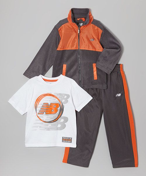 Take a look at the Charcoal & Orange Track Jacket Set - Infant, Toddler & Boys on #zulily today!