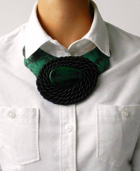 Maxi Colar Tecido/Pedra Verde