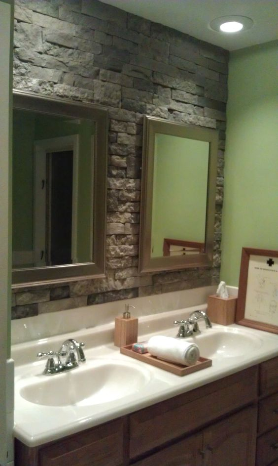 The Art Gallery airstone stone accent wall in bathroom Can ut wait to do this I saw the demo at Lowes and I um totally doing this on both bathrooms