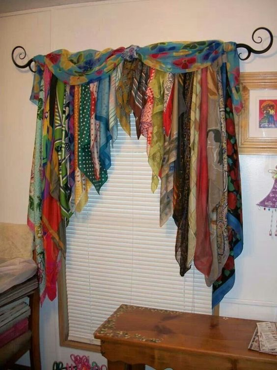 Bohemian Curtains And Window Treatments Scarves Turned