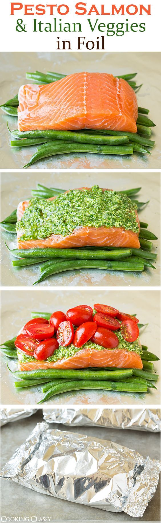 Pesto Salmon and Italian Veggies in Foil - this is an easy, flavorful dinner that is sure to please! So delicious!::