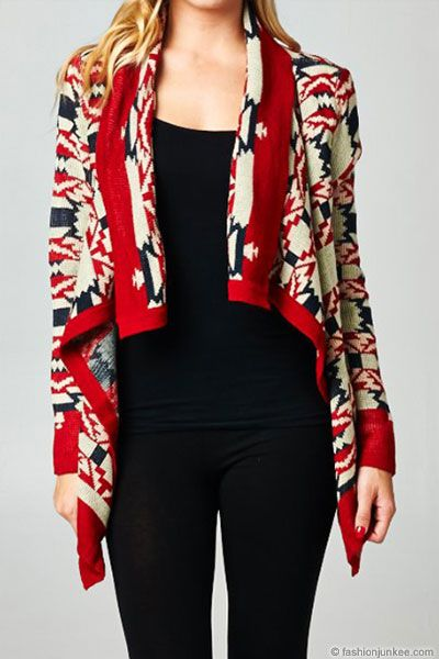 PLUS SIZE Thick Tribal Aztec Print Open Front Cardigan Sweater-Burgundy, Ivory & Navy- NOW IN STOCK!: