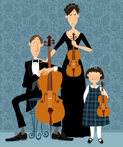"""""""Family of Musicians"""" by children's illustrator Galia Bernstein. This reminds me of that line in """"The Lonely Goatherd"""" from """"The Sound of Music"""": 'Soon the duet will become a trio:"""