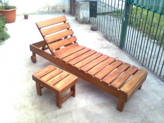 Camastros reposera de madera ideas pinterest mesas for Camastros de hierro para jardin